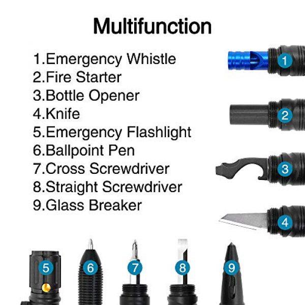 Moikin Survival Flashlight 5 Moikin 10 in 1 Tactical Pen for Self Defense Survival Multitool, LED Flashlight, Ballpoint, Screw Driver, Bottle Opener, Glass Breaker with a Multi Tool Card EDC for Men