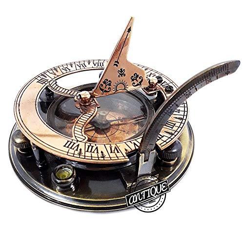 AV  2 AV Maritime Sundial Compass Brass Solid Nautical Sundiel Clock Compasses