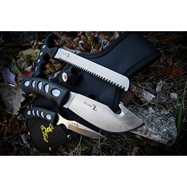 Elk Ridge Fixed Blade Survival Knife 4 Elk Ridge - Outdoors 3-PC Hunting Knife Set - Satin Finish Stainless Steel Blades, Black Nylon Fiber Handles, Includes Combo Sheath - Hunting, Camping, Survival - ER-252