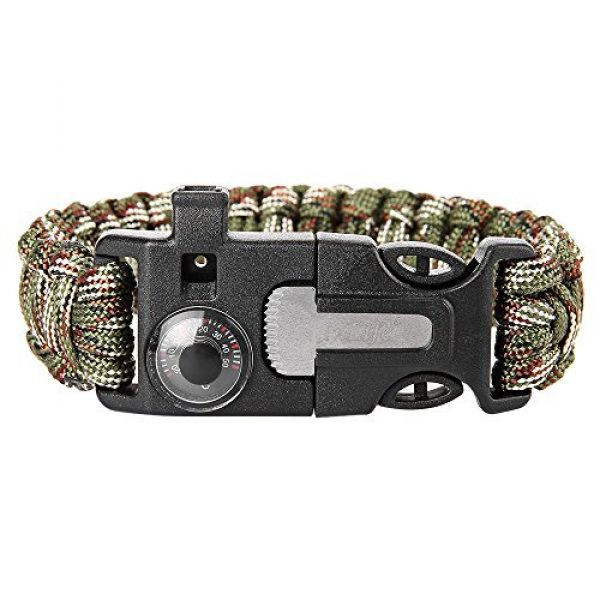 Wsobue Survival Paracord Bracelet 2 Paracord Bracelet, Outdoor Survival Gear Fire Starter Whistle Compass Emergency Knife, Perfect for Hiking Camping Fishing and Hunting