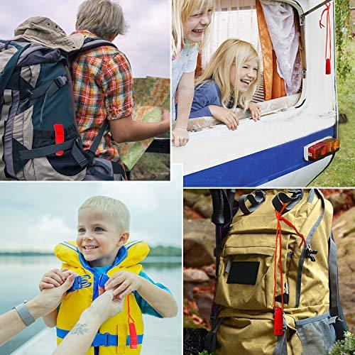 Augsun  4 Augsun 10 Pcs Emergency Safety Whistle Plastic Whistles Set with Lanyard