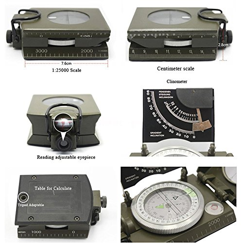 Beileshi  7 beileshi Professional Multifunction Military Army Metal Sighting Compass W/inclinometer Camping and Hiking Waterproof Compass