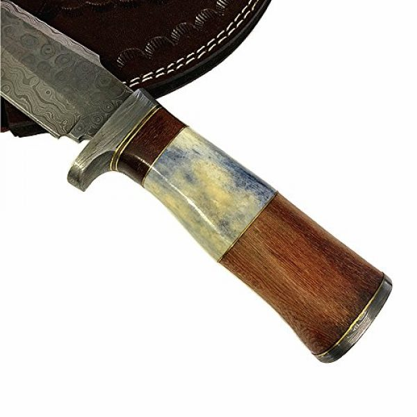 Yooyo Fixed Blade Survival Knife 7 Yooyo Handmade Damascus Knife- Decorative Knives, Camping Survival Knife, and Hunting Knife with Exquisite Walnut Wooden Handle, Sharp Blade with Leather Sheath