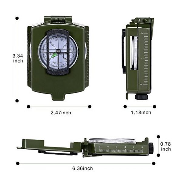 Anyow Survival Compass 2 Outdoor Survival Compass Multifunctional Military Map Sighting Lensatic Compass, Waterproof and Shakeproof for Adventure Hiking Camping with Pouch