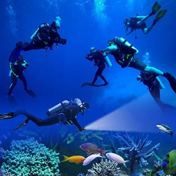 SupFire Survival Flashlight 6 SupFire Dive Flashlight,Led Cree Dive Torch 800 Lumens Professional Underwater Diving Flashlight,Underwater 170 Meters,Waterproof Submarine Light with 18650 Batteryand AC Charger-1 Mode