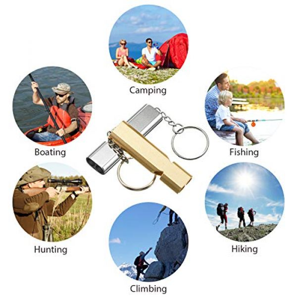Frienda Survival Whistle 7 10 Pieces Emergency Whistles Safety Survival Whistles High Pitch Double Tubes Metal Whistle for Outdoor Camping Hiking Boating Hunting Fishing (Gold and Silver)