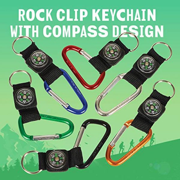 Kicko Survival Compass 2 Kicko Rock Clip Keychain with Compass Design - 12 Pack Metal Self Lock Clip - Clasps for Bag and Belt Loop Accessory, Outdoor Activities, Traveling Guide, Sporting Tool, Party Favors