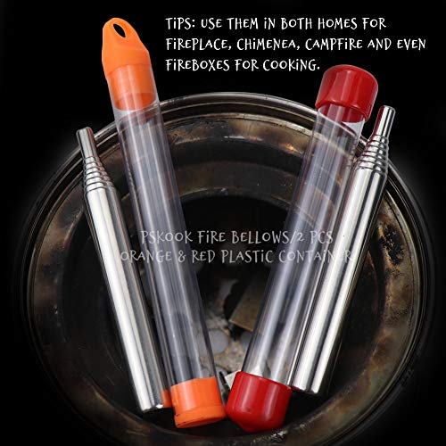 PSKOOK  4 PSKOOK 2 Size Pack Pocket-Size Fire Bellows Collapsible Stainless Steel Fire Blower Pipe Builds Campfire Tool with Poly Carrying Bag (2 Size)