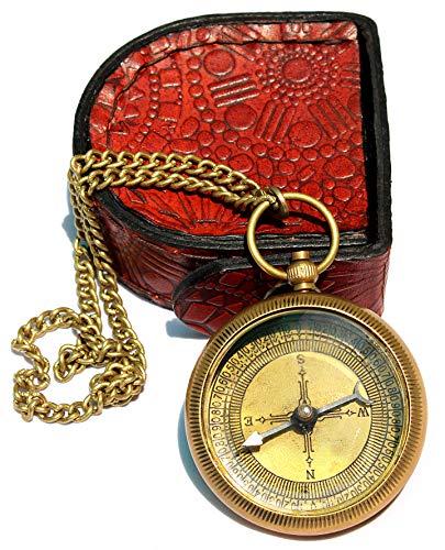 Sara Nautical Survival Compass 3 Sara Nautical Go Confidently Thoreau's Quote Engraved Compass with Leather Case.