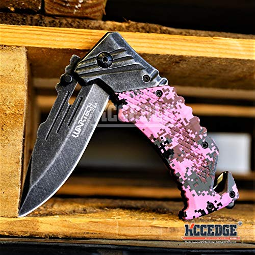 KCCEDGE BEST CUTLERY SOURCE  5 KCCEDGE BEST CUTLERY SOURCE Pocket Knife Camping Accessories Survival Kit Razor Sharp Edge Camouflage Folding Knife with Glass Breaker Cord Cutter Camping Gear 56843