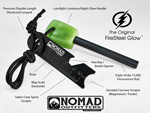 Nomad Survival Fire Starter 3 FireSteel Glow - Glow-In-The-Dark Survival Fire Starter - 15,000 Strike Ferrocerium Rod, Lumilight Luminous Handle, 6 in One Multi Tool, Shock Cord Lanyard, Survival Hiking Hunting Camping Backpacking