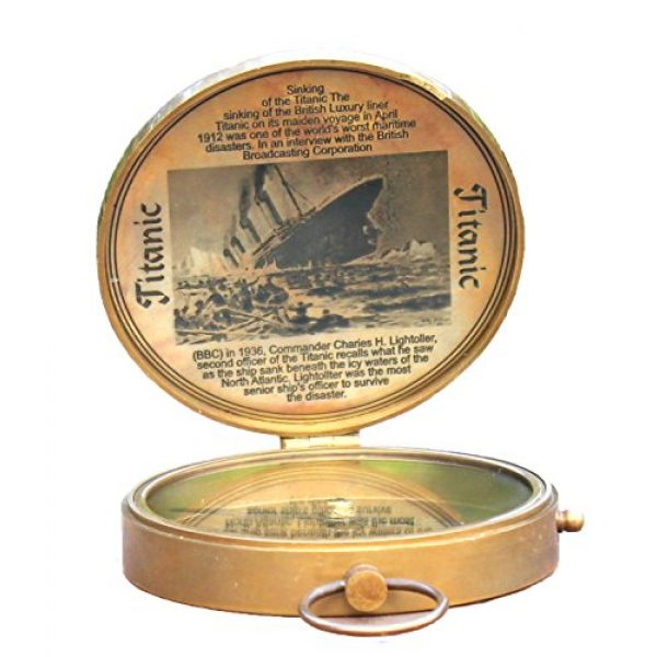 collectiblesBuy Survival Compass 4 Collectibles Buy Antique Lid Titanic Compass Brass Finish Vintage Nautical Sailor Article - Maritime Magnetic Gift