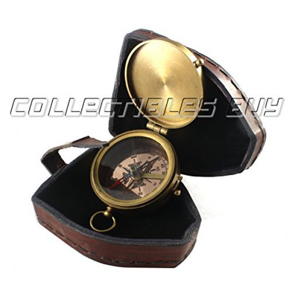 collectiblesBuy Survival Compass 4 collectiblesBuy Antique Quote Compass with Triangle Orange Leather Box Vintage Functional Marine Brass Magnetic Handmade
