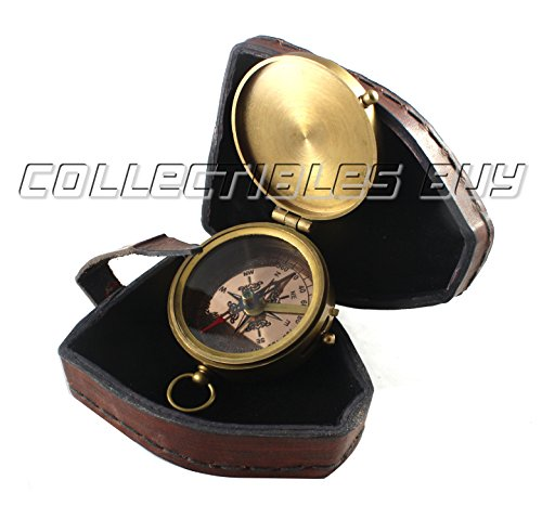 collectiblesBuy  4 collectiblesBuy Antique Quote Compass with Triangle Orange Leather Box Vintage Functional Marine Brass Magnetic Handmade