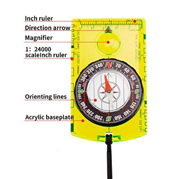 Gejoy Survival Compass 3 Gejoy 4 Pieces Navigation Hiking Compass Orienteering Backpacking Compass Waterproof Map Reading Compass for Boy Scout Kids Outdoor Camping (Style 1)