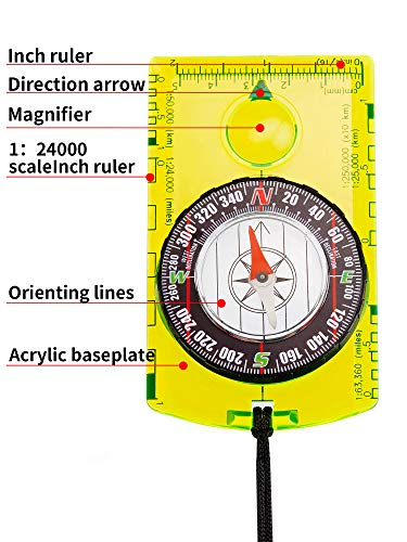 Gejoy  3 Gejoy 4 Pieces Navigation Hiking Compass Orienteering Backpacking Compass Waterproof Map Reading Compass for Boy Scout Kids Outdoor Camping (Style 1)