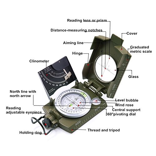 Beileshi  3 beileshi Professional Multifunction Military Army Metal Sighting Compass W/inclinometer Camping and Hiking Waterproof Compass