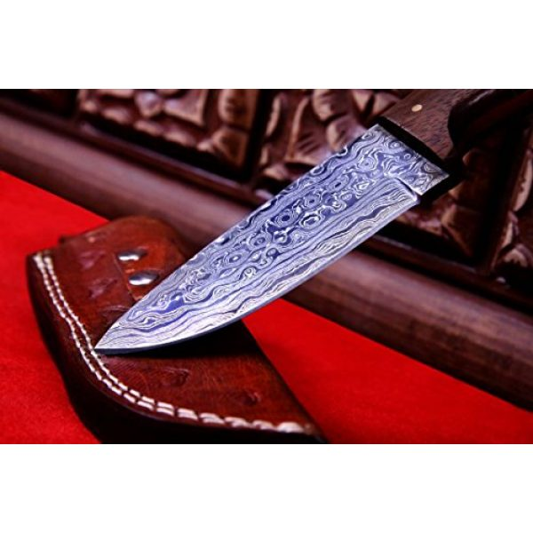 Nescole Fixed Blade Survival Knife 4 Nescole 8 in. Bowie Knife- Handmade Damascus Knife- Decorative Knives, Camping Survival Knife, and Hunting Knife with Camel Bone and Walnut Wood Handle, 4 in. Sharp Blade with Leather Sheath