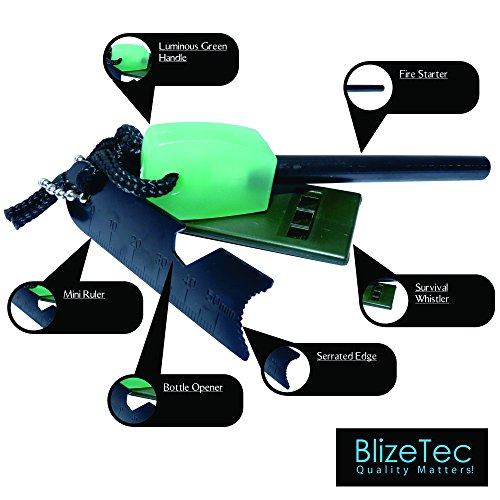 BlizeTec Survival Fire Starter 2 BlizeTec Fire Starter: Best 6-in-1 Magnesium Emergency Fire Starter with Luminous Green Handle, Mini Ruler, Bottle Opener, Serrated Edge and Rescue Whistle; Last Up to 12,000 Strike