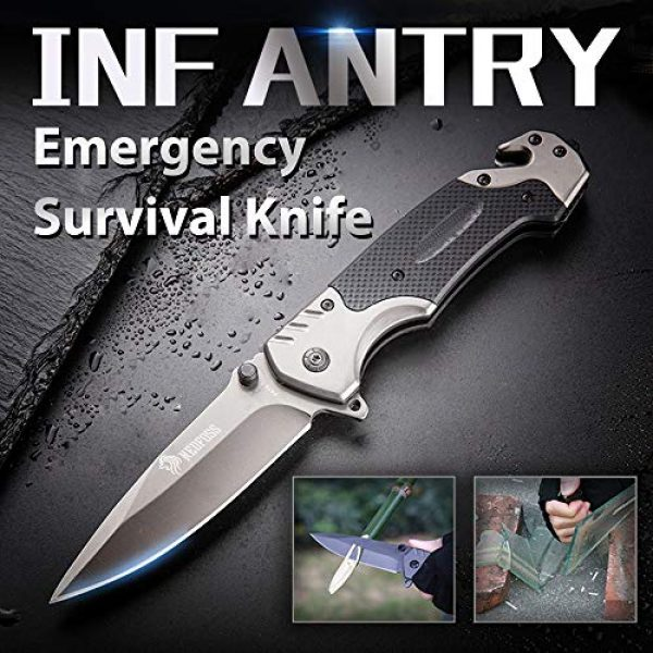 NedFoss Folding Survival Knife 2 NedFoss Survival Folding Knife, with Glass Breaker and Belt Cutter, Thumb Stud and Flip Assist, Outdoor Sturdy Tactical Rescue Pocket Knives with Clip