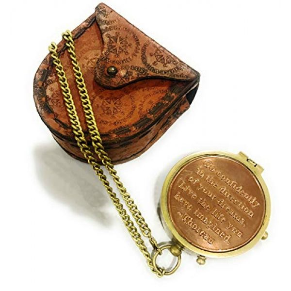 NauticalMart Survival Compass 3 NauticalMart Thoreau's Go Confidently Quote Engraved Compass with Stamped Leather case Camping Compass, Boating Compass, Gift Compass, Graduation Day Gifts
