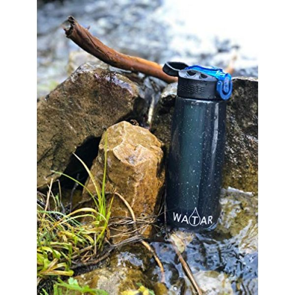 Watar Survival Water Filter 5 Watar Filtered Water Bottle with Straw BPA Free with 4-Stage Filter - Perfect for Travel, Backpacking, Camping, Hiking, and Emergency preparedness