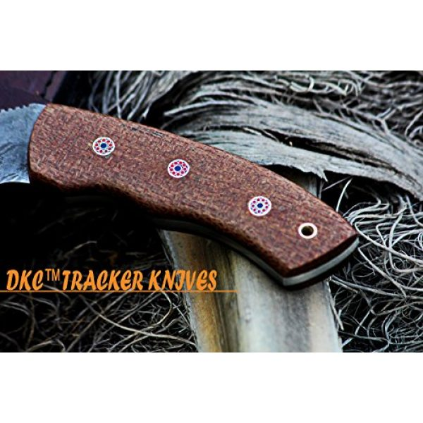 "DKC Knives Fixed Blade Survival Knife 3 DKC Knives (16 6/18) DKC-400 DS Sierra Tracker Damascus Survival Prepper Hunting Knife Mahogany Micarta 12"" Long, 6"" Blade 13ozl Damascus Steel Blade Very Solid Knife"