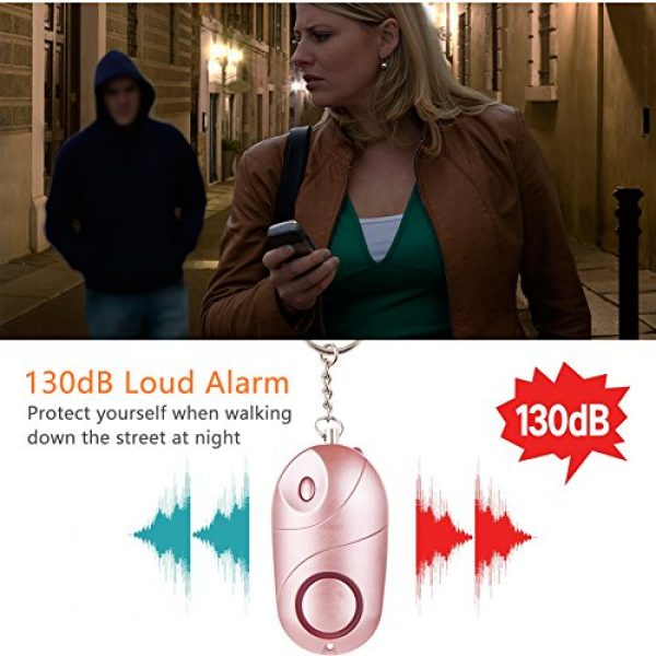 MIBOTE Survival Alarm 3 MIBOTE Personal Alarm, 130 dB Emergency Self Defense Personal Alarm Keychain with LED Light for Women, Kids, Students, Elderly (2 Pack, Rose Gold)