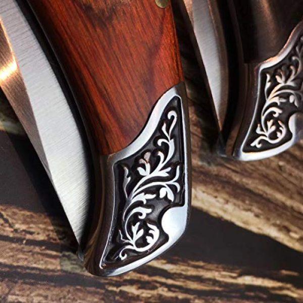 ENNSUN Folding Survival Knife 5 ENNSUN Artistic Exotica Carved Wood & Steel Handle Stainless Steel CNC Tactical Folding Knife Outdoor Survival EDC Tools Elegant Knife Collection Gift for Men