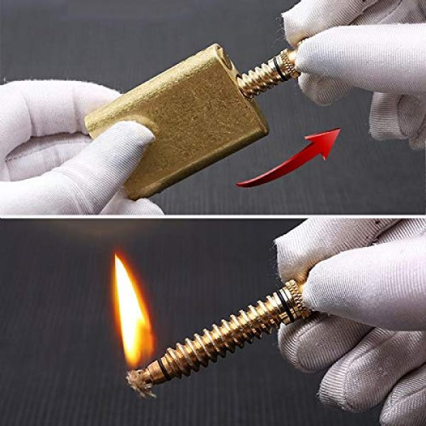 TURKEY Survival Fire Starter 4 MORISK Permanent Match, Cool Pipe Lighter Fluid Refillable, Copper Vintage Trench Lighters, Creative Auto Fire Starter, EDC Reusable Forever Matches, Unique Birthday Gift for Men Dad Husband Boyfriend
