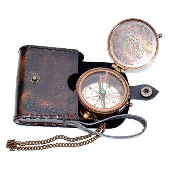 india nautical Survival Compass 5 india.nautical. Grow Old with ME Engraved Brass Compass ON Chain with Leather CASE, Directional Magnetic Compass in