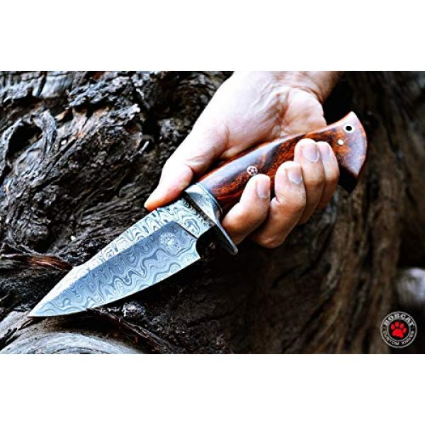 Bobcat Knives Fixed Blade Survival Knife 5 Bobcat Knives Custom Handmade Hunting Knife Bowie Knife Damascus Steel Survival Knife EDC 10'' Overall Walnut Wood with Sheath