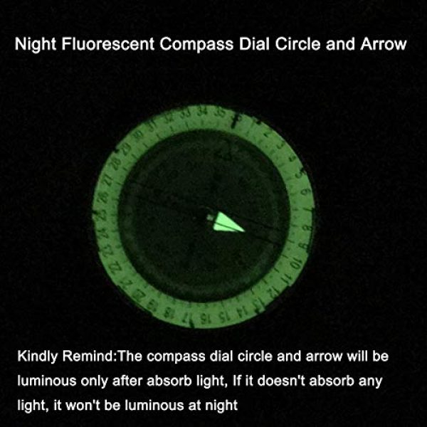 DETUCK Survival Compass 5 DETUCK(TM Military Compass Metal Sighting Lensatic Compass, Night Fluorescent, Impact Resistant and Waterproof, Survival Navigation Compass for Hiking, Camping, Hunting, Backpacking