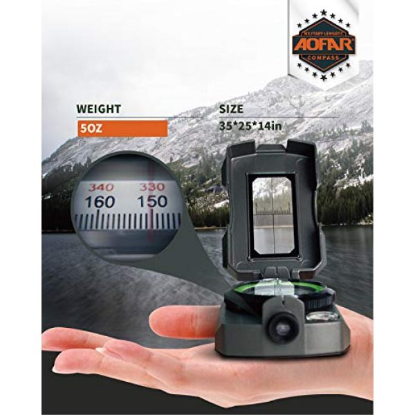 AOFAR Survival Compass 2 AOFAR AF-4090 Multifunctional Military Compass Waterproof and Shakeproof with Signal Mirror,Whistle,Fishing Hook and Line for Camping,Boy Scount,Geology Activities Boating