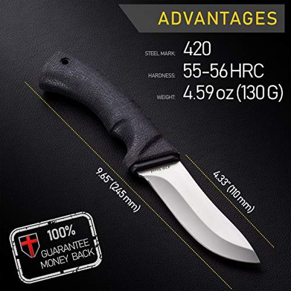 Grand Way Fixed Blade Survival Knife 2 Grand Way Tactical Knife - Survival Bushcraft Fixed Blade Knife with Elastron Handle for Hunting and Fishing - Best Bowie Big Blade Knife for Self Defense 01085