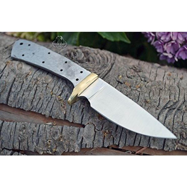 Whole Earth Supply Fixed Blade Survival Knife 2 Whole Earth Supply (Set of 2) Custom Blank Knives Knife Blade Drop Point 6 1/2in w/Brass Guard Bolster BL013