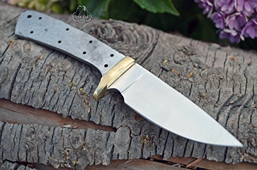 Whole Earth Supply  2 Whole Earth Supply (Set of 2) Custom Blank Knives Knife Blade Drop Point 6 1/2in w/Brass Guard Bolster BL013