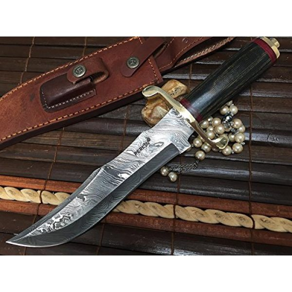 Perkin Fixed Blade Survival Knife 2 Perkin | 12 Inch Razor Sharp Fixed Blade Damascus Steel Bowie Knife | Full Tang Blade W/A High Grade Leather Sheat