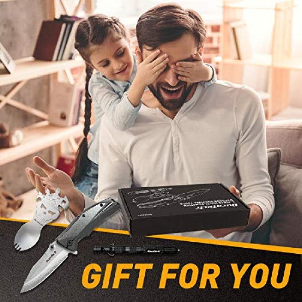 DURATECH Folding Survival Knife 7 DURATECH Gifts for Men Dad Fathers Day Tactical Folding Knife, Multitool Combo Kit, Tactical Pen, Utility Survival Tools for Camping, Hiking, Hunting and Fishing