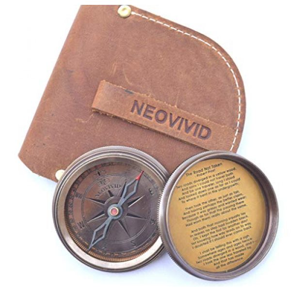 NEOVIVID Survival Compass 3 NEOVIVID Robert Frost Poem Engraved Brass Compass with Leather Case, The Road Not Taken Compass