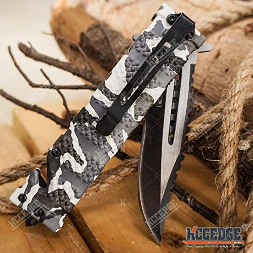 KCCEDGE BEST CUTLERY SOURCE  5 KCCEDGE BEST CUTLERY SOURCE Pocket Knife Camping Accessories Survival Kit Razor Sharp Serrated Clip Point Survival Folding Knife Camping Gear Survival Kit EDC 55419