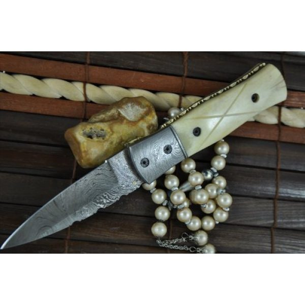 Perkin Knives Folding Survival Knife 5 Perkin Knives - Handcrafted Damascus Hunting Knife - Folding Knife