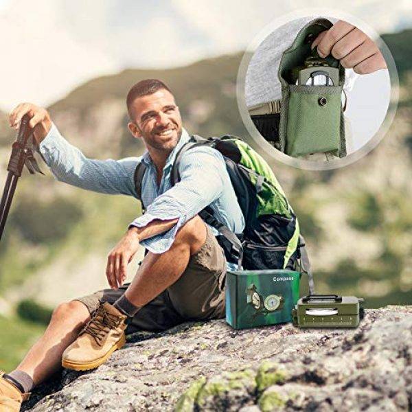 Intsun Survival Compass 7 Intsun Military Compass for Hiking, Multifunctional Lensatic Compass Waterproof and Shakeproof, Sighting Navigatio Compasses for Hiking, Camping, Motoring, Boating, Boy Scout