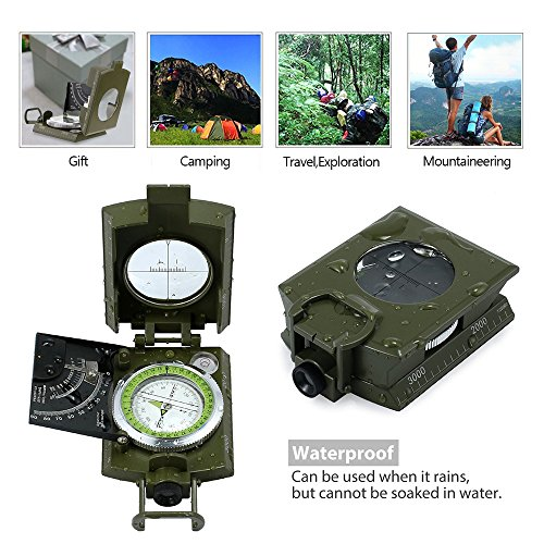 ydfagak Survival Compass 7 ydfagak Compass Waterproof Hiking Military Navigation Compass with Fluorescent Design,Perfect for Outdoor Activities