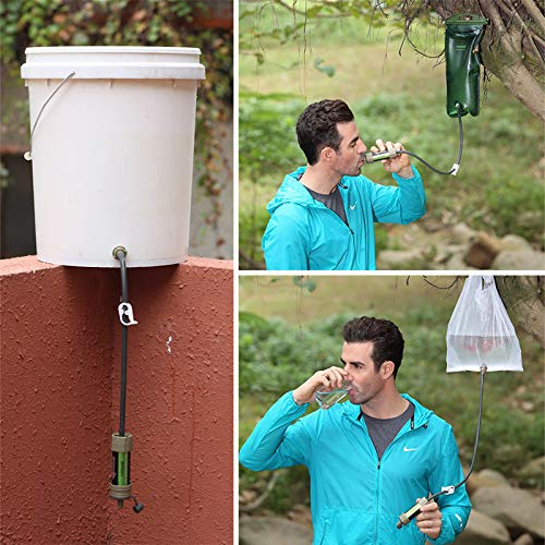 WASAGA  2 WASAGA Outdoor Water Filter Personal Water Filtration Straw Emergency Survival Gear Water Purifier for Hiking