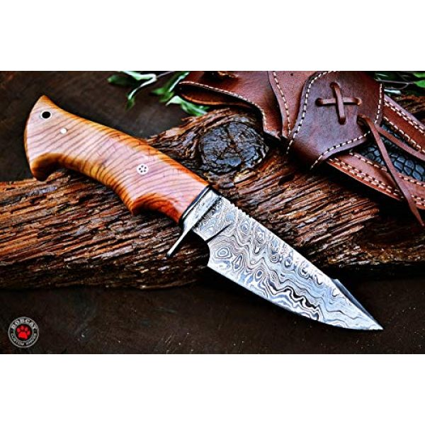 Bobcat Knives Fixed Blade Survival Knife 2 Bobcat Knives Custom Handmade Hunting Knife Damascus Steel Blade Olive Wood Handle 10'' Overall