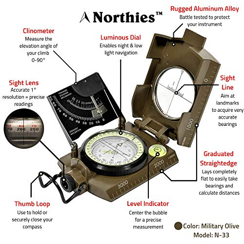 Northies Survival Compass 4 Northies Combo Pack Military Lensatic Sighting Compass and Paracord Survival Bracelet, Fire Starter, Whistle, Aluminum Alloy, Waterproof, Carrying Bag, Tactical Outdoor Gear for Camping and Hiking