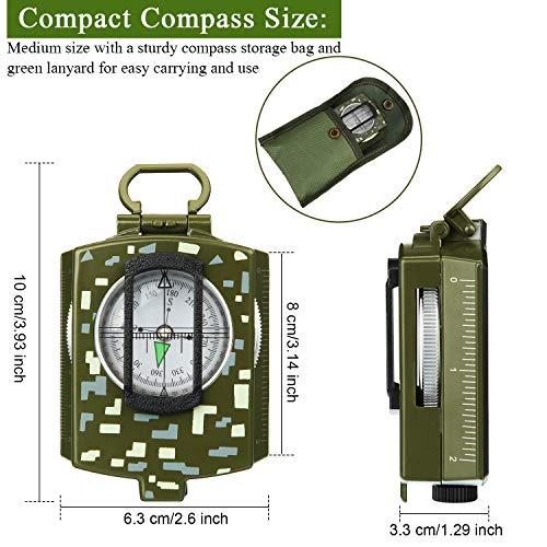 BBTO  4 2 Pieces Military Lensatic Sighting Compass Metal Sighting Navigation Compasses Impact Resistant Waterproof Lightweight Inclinometer Compasses with Carrying Bag for Hiking Camping Motoring Hunting