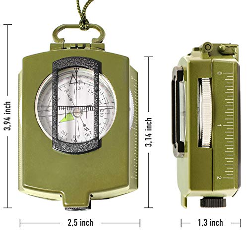 TurnOnSport Survival Compass 2 Lensatic Military Compass Hiking - Tritium Compass Military Grade style Camping Backpacking - Tactical Army Green Compass Survival Navigation - Hiking Waterproof Sighting Compass with Pouch
