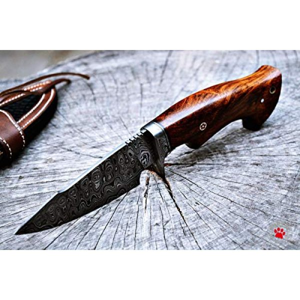 Bobcat Knives Fixed Blade Survival Knife 6 Bobcat Knives Custom Handmade Hunting Knife Bowie Knife Damascus Steel Survival Knife EDC 10'' Overall Walnut Wood with Sheath